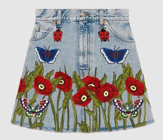 Gucci Embroidered Denim Skirt