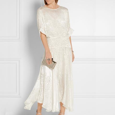 Devoré-Satin Midi Dress