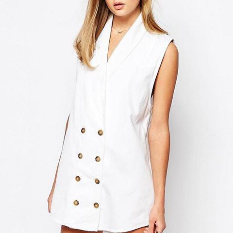 Button Front Denim Vest Mini Dress