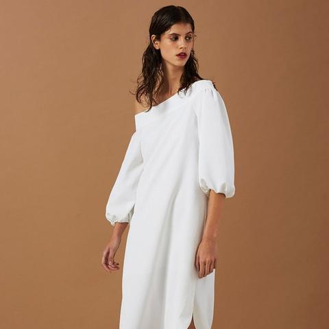 Drape Twill Off-Shoulder Dress