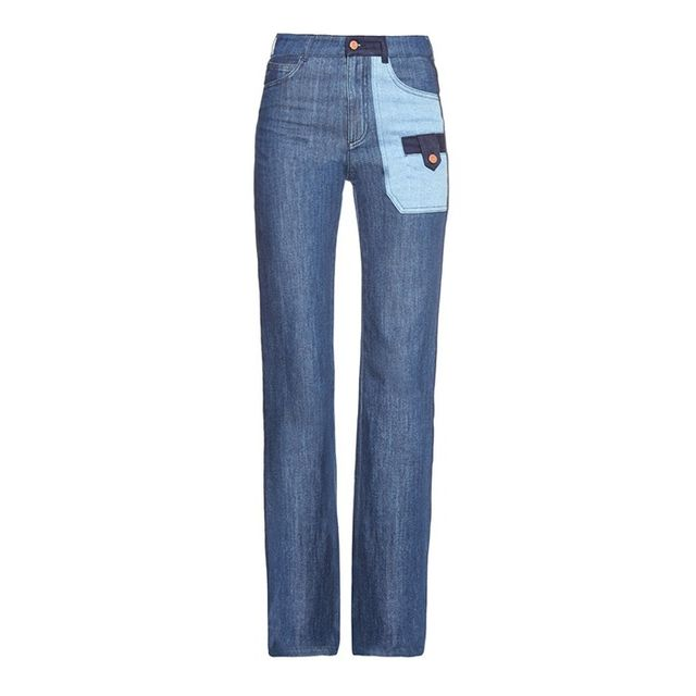 See by Chloé Patchwork Denim Wide-Leg Jeans