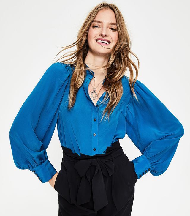 Boden Blouson Sleeve Silk Shirt