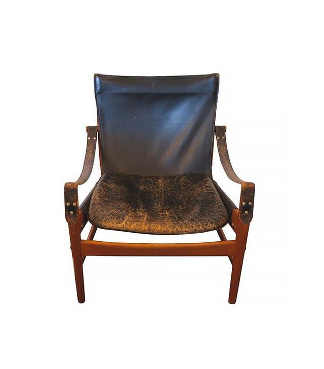 Hans Olsen Black Leather & Wood Safari Chair