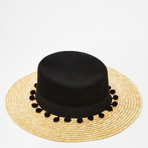 Straw Hat with Contrast Black Crown and Pom Pom Trim