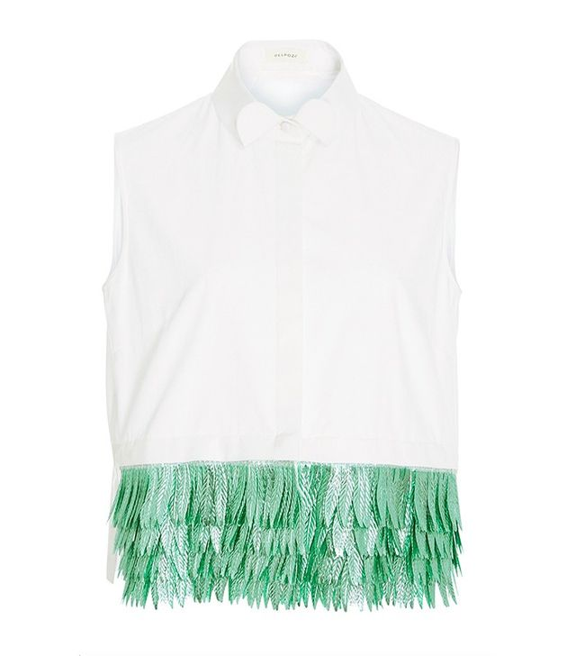 Delpozo Sleeveless Cotton Button-Down Shirt