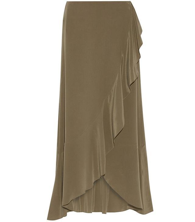 Theory Lorsinie Asymmetric Ruffled Washed-Silk Wrap Skirt