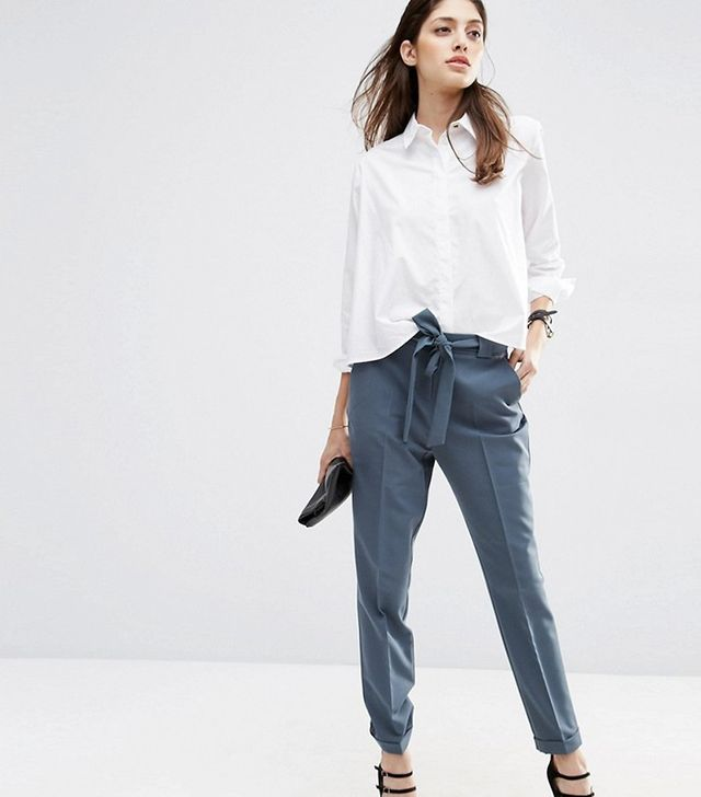 ASOS Cigarette Trousers With Tie Waist