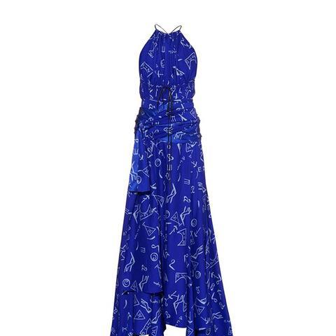 Alfabeto-Print Silk Halterneck Gown