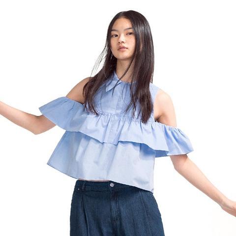 Frilled Poplin Shirt