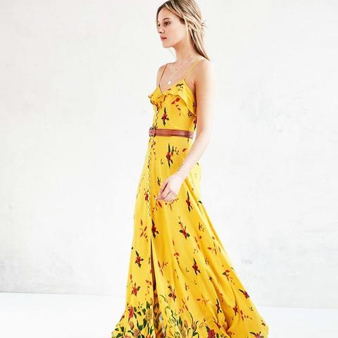 La Playa Button-Down Yellow Maxi Dress