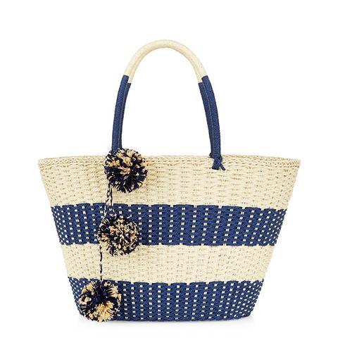 Raffia Pom Pom Tote Bag