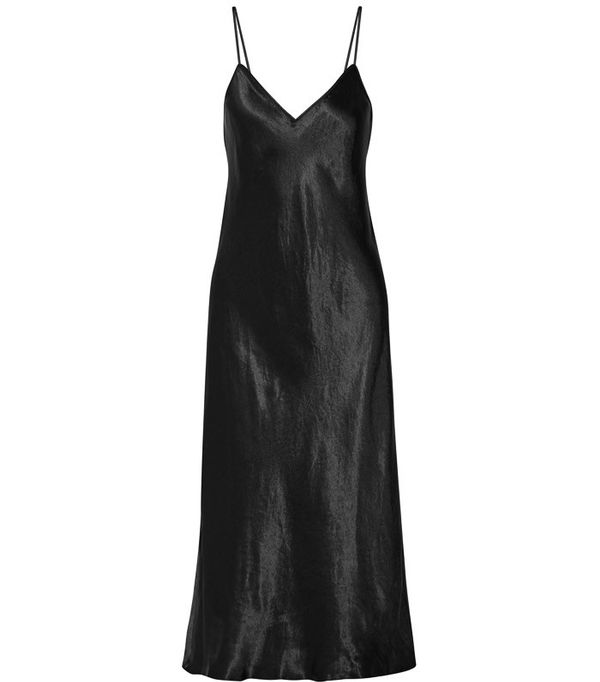 How to Wear Black In Summer: Vince Satin Midi Dress