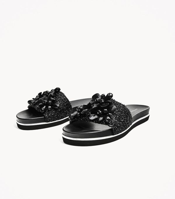 How to Wear Black In Summer: Zara Slides With Beads