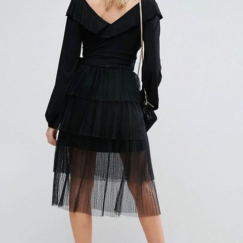 Fashion Union Tiered Midi Skirt In Tulle Pleat