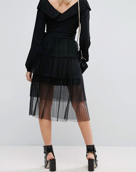 How to Wear Black In Summer: Fashion Union Tiered Midi Skirt In Tulle Pleat