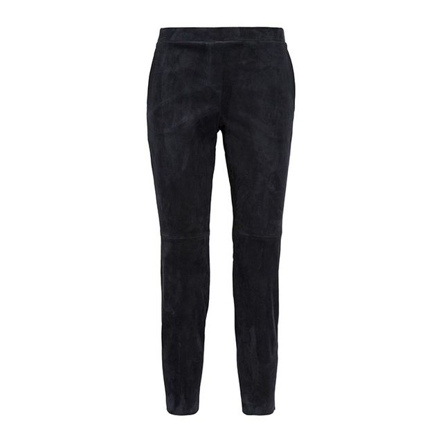 Theory Cropped Stretch-Suede Leggings