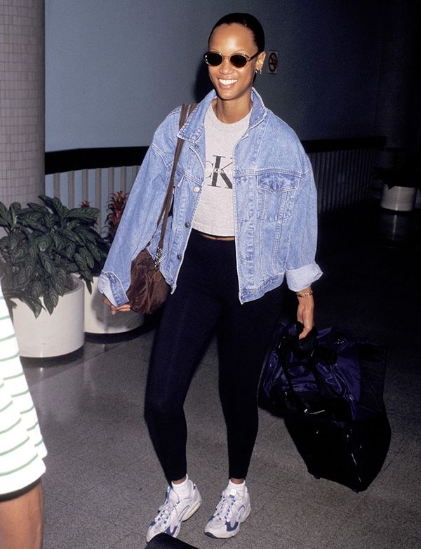 It doesn't get much more '90s than a Calvin Klein tee on Tyra Banks.