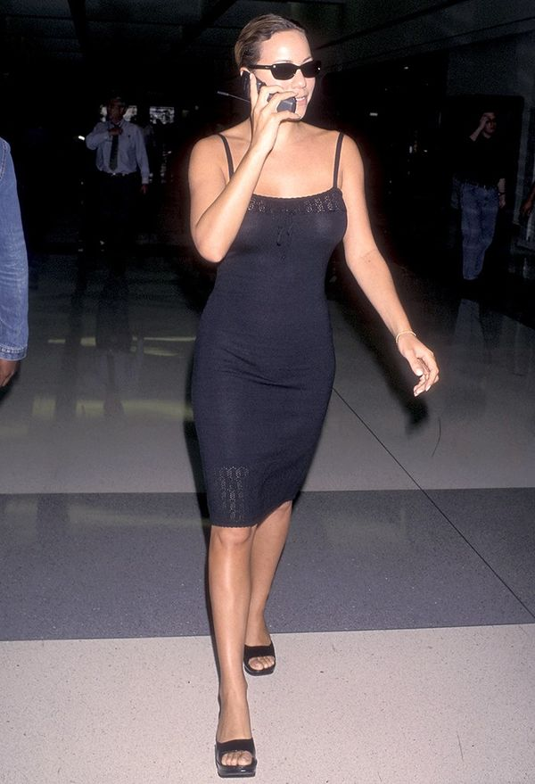 Stylish slip dress aside, can we pleasetake a moment to observe Mariah Carey's cell phone?