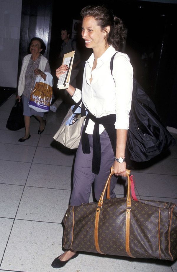 We think Christy Turlington's outfit would be perfect if you were traveling for work. Relaxed and polished, all at once.
