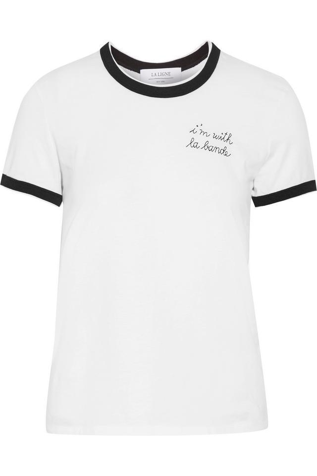 La Ligne Embroidered Cotton-Jersey T-Shirt