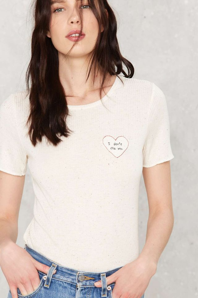 Mixed Signals Embroidered Tee