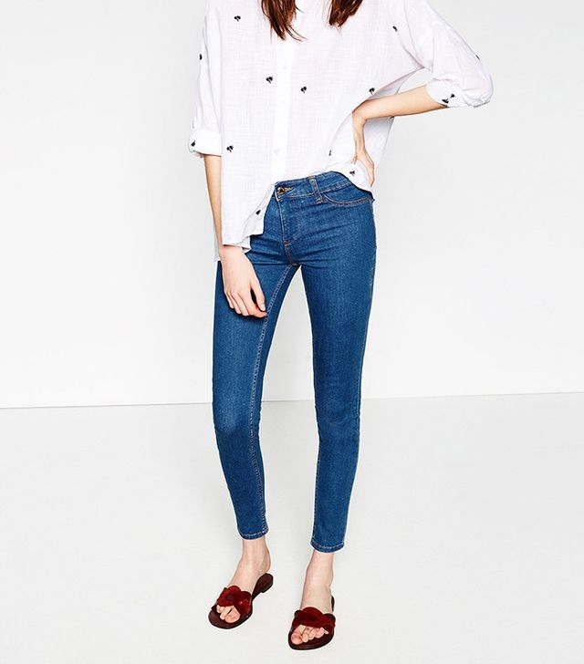 Zara Skinny Jeggings in Mid-Blue