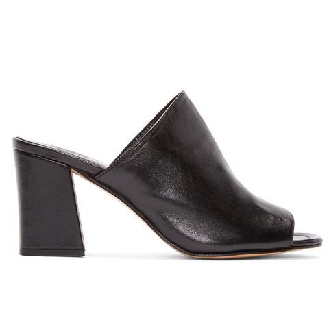 Black Leather Penelope Mules