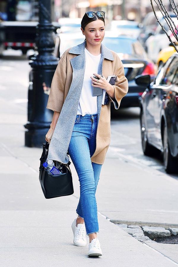 Kimono Jacket + T-Shirt + Jeans + White Sneakers:
