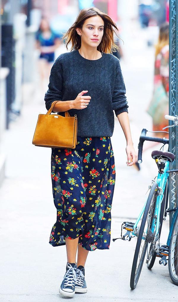 Sweater + Midi Skirt + High-Top Sneakers: