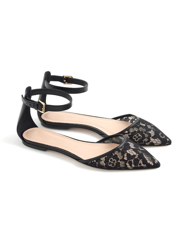 J.Crew Lace Flats With Ankle-Strap
