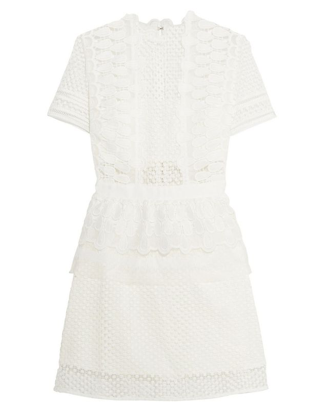 Self-Portrait Guipure Lace Peplum Mini Dress