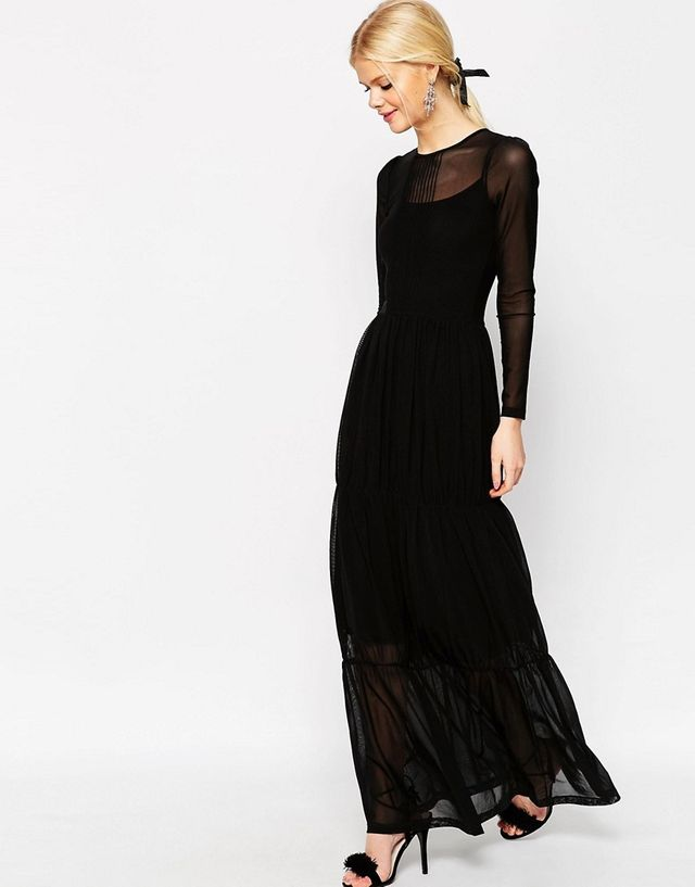 ASOS Tiered Maxi Dress in Mesh