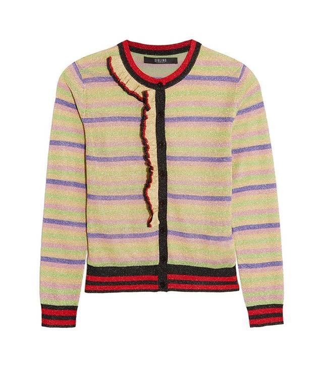 Sibling Striped Metallic Knitted Cardigan