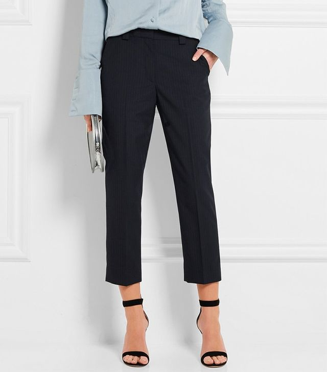 Topshop Unique Jermyn Pinstriped Crepe Tapered Pants