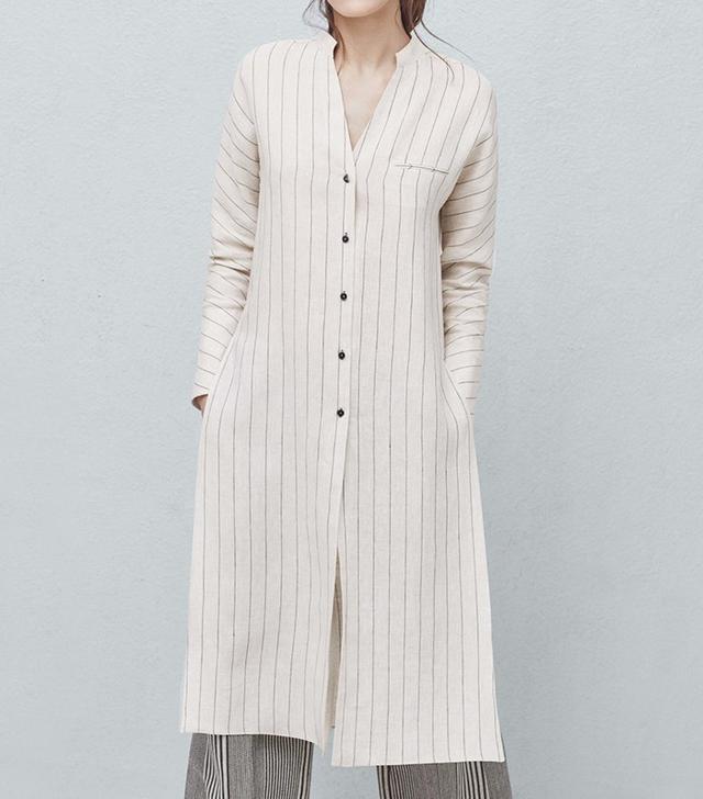 Mango Premium Striped Linen Blouse