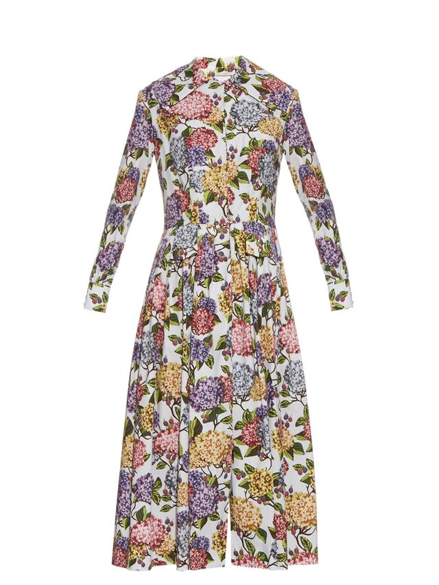 Emilia Wickstead Dolly Hydrangea-Print Midi Dress