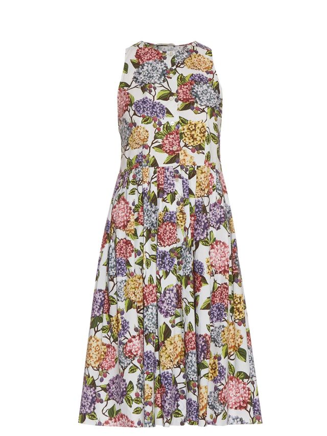 Emilia Wickstead Olive Hydrangea-Print Dress