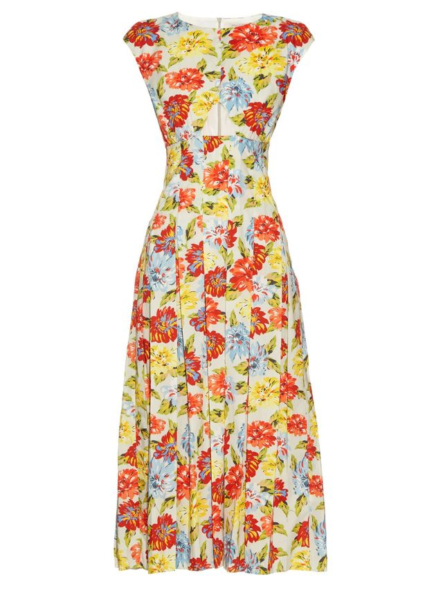 Emilia Wickstead June Floral-Print Cut-Out Dress