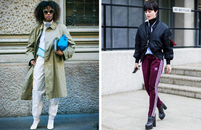 How to wear a tracksuit: finish off with heels