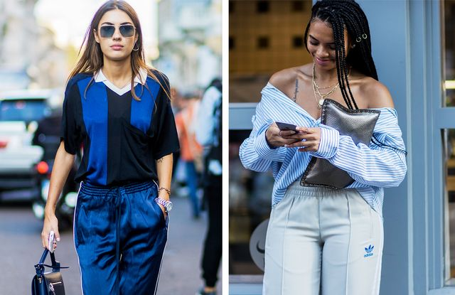 How to wear a tracksuit: tuck in a shirt or smart top