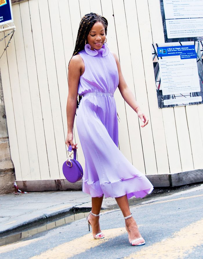 Spring street style outfit ideas 2018: lilac Tibi dress with a purple Tara Zadeh bag