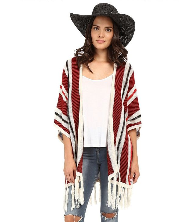Jack by BB Dakota Dobrin Acrylic Beach Stripe Fringe Cardigan