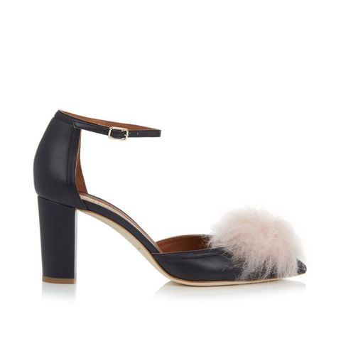 Jan Fur-Pompom Leather Pumps