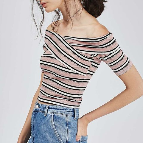 Stripe Bardot Crop Top