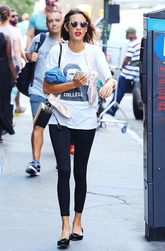 On Alexa Chung:Mark Cross bag; Charlotte OlympiaKitty Flats($495).