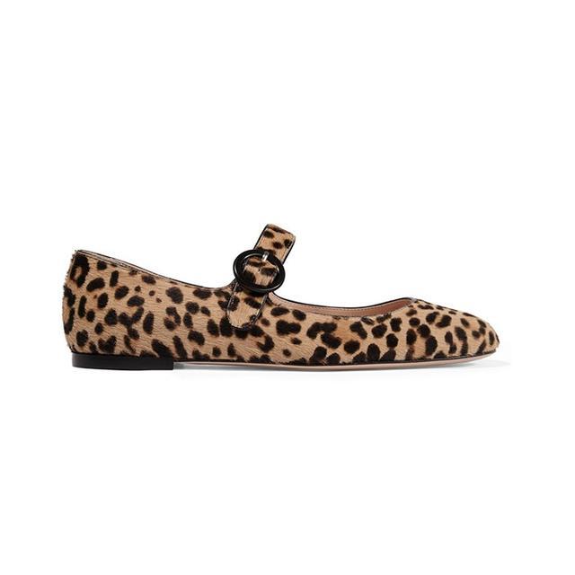 Gianvito Rossi Leopard-Print Calf Hair Ballet Flats