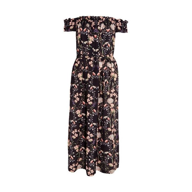 Reformation Lydia Off-the-Shoulder Floral-Print Silk Dress