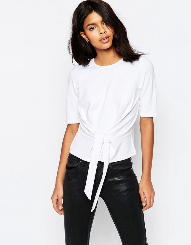 ASOS The Ponte Top With Tie Front Detail