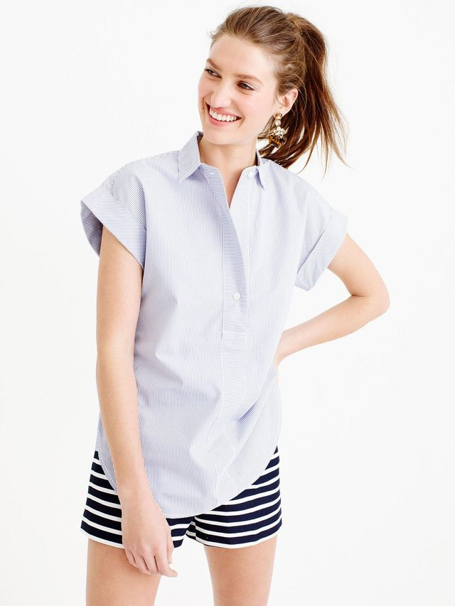 J.Crew Short-Sleeve Popover Shirt in Stripe
