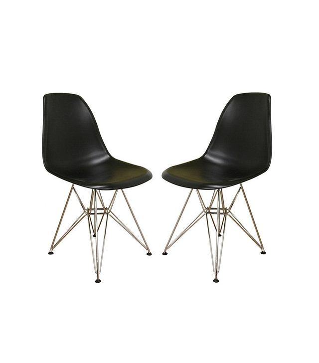 Baxton Studio Ronnie Wire Base Set of 2 Black Chairs